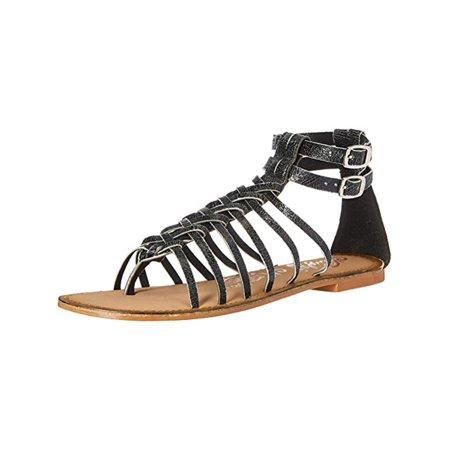 Naughty Monkey Womens Boardwalk Distressed Leather Gladiator Sandals