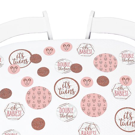 It's Twin Girls - Pink and Rose Gold Twins Baby Shower Giant Circle Confetti - Party Decorations - Large Confetti 27 Count ()