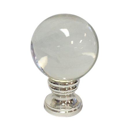 - Royal Designs Clear Crystal Ball Lamp Finial with Polished Silver Base