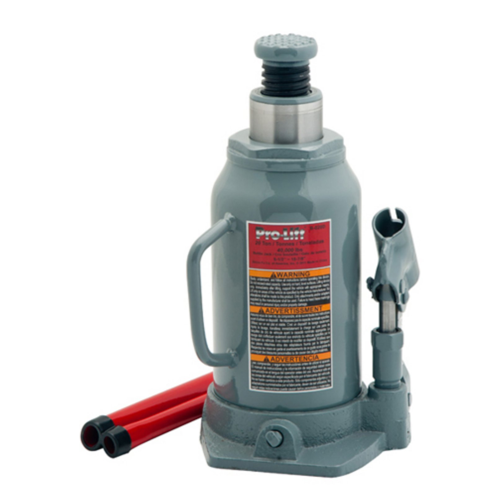 Pro-Lift B-020D Grey Hydraulic Bottle Jack, 20 Ton Capacity