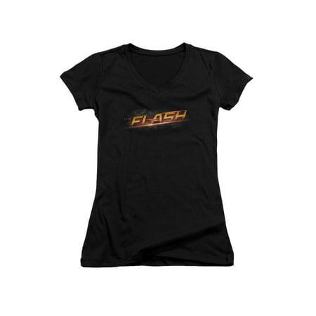 The Flash Action Superhero TV Series Lightning Name Juniors V-Neck T-Shirt Tee - Female Superheroes Names