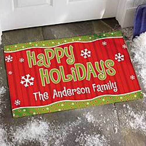 "Personalized Happy Holidays Doormat, 17"" x 27"""