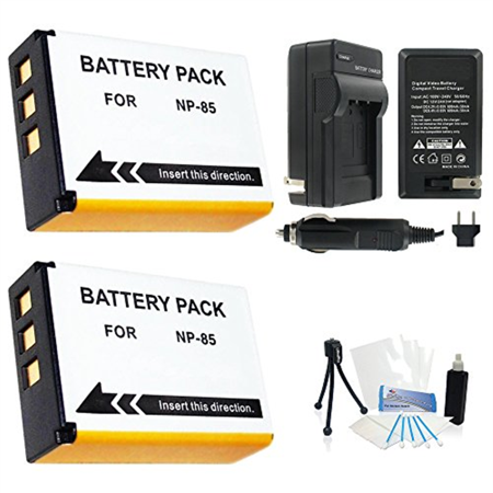 2-Pack Fuji NP-85 High-Capacity Replacement Batteries with Rapid Travel Charger for FujiFilm FinePix S1, SL1000, SL305, SL300, SL280, SL260, SL240 Digital Cameras - UltraPro BONUS INCLUDED: Camera - Digital Concepts Rapid Charger
