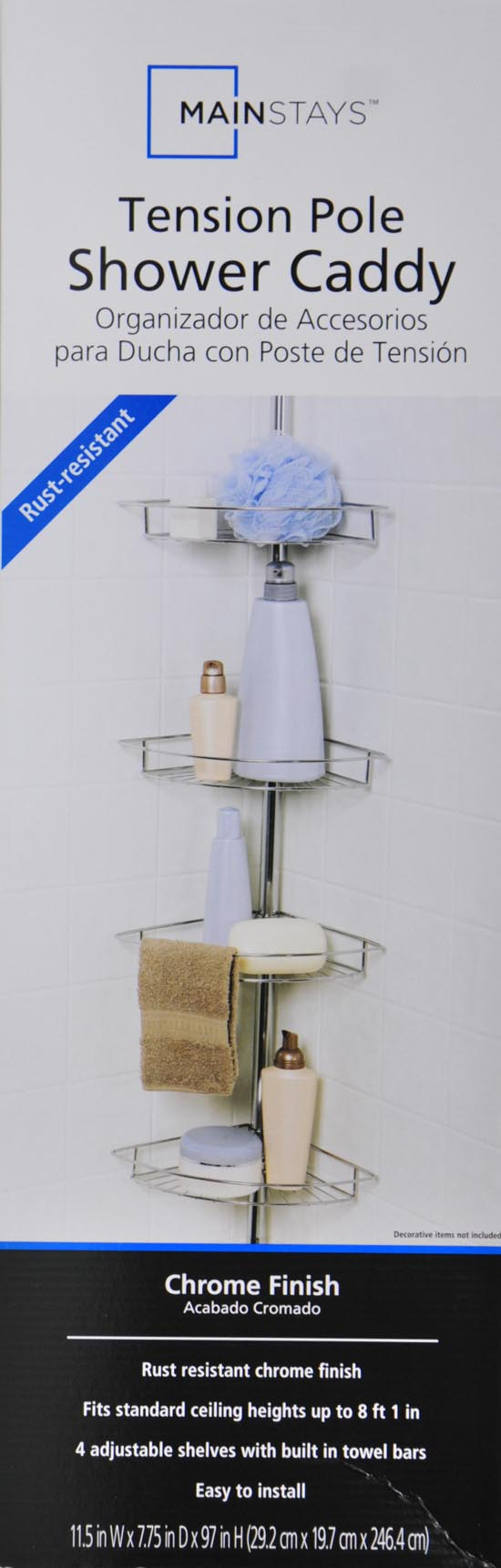 Bathroom Tension Shower Shelf Caddy Chrome By Mainstays 43197140579 ...