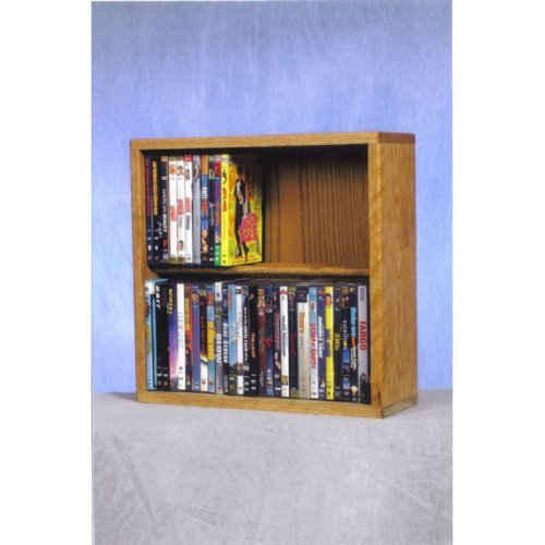 The Wood Shed Solid Oak 2 Row Dowel CD \/ DVD Combination Media Rack - 18 in. Wide