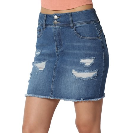 - TheMogan Junior's Distressed Ripped Stretch Jean Fray Hem Yoke Back Denim Mini Skirt