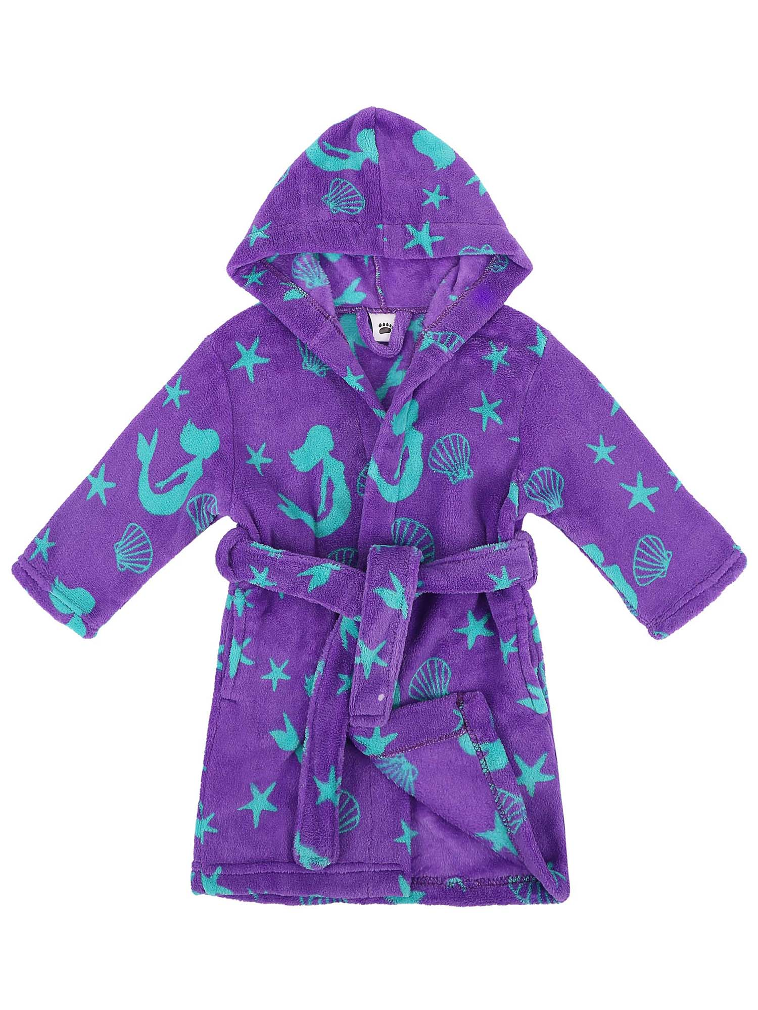 Girls Robe Hooded Printed Fleece Bathrobe w/Side Pockets,Unicorns,M