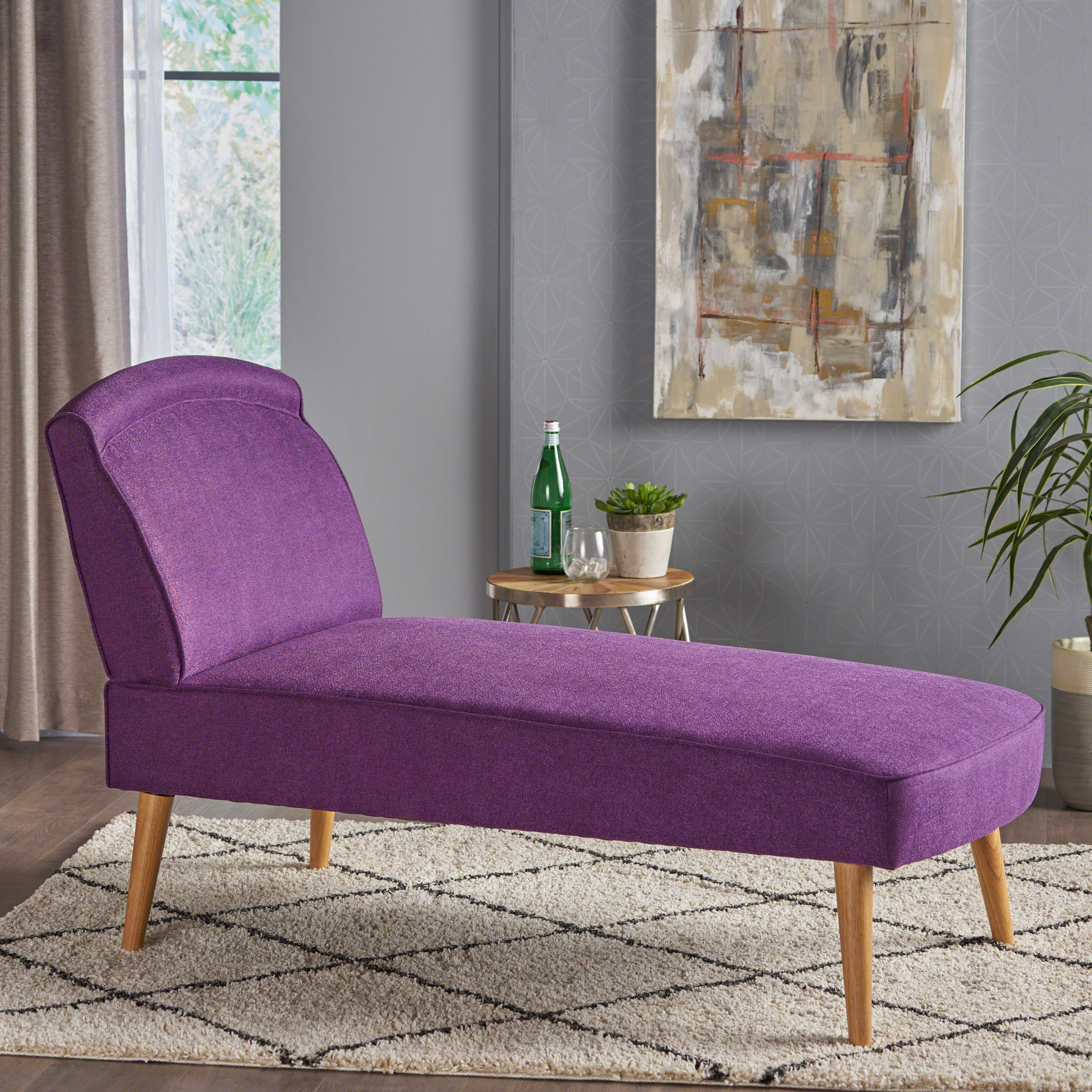 Noble House Desmond Mid Century Modern Fabric Chaise Lounge,Purple