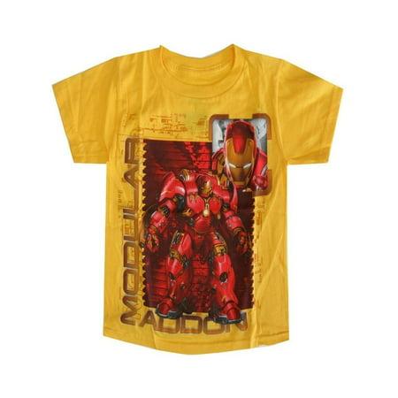a0b5f9fac4 Marvel Little Boys Yellow Iron Man Modular Addon Short Sleeve T-Shirt