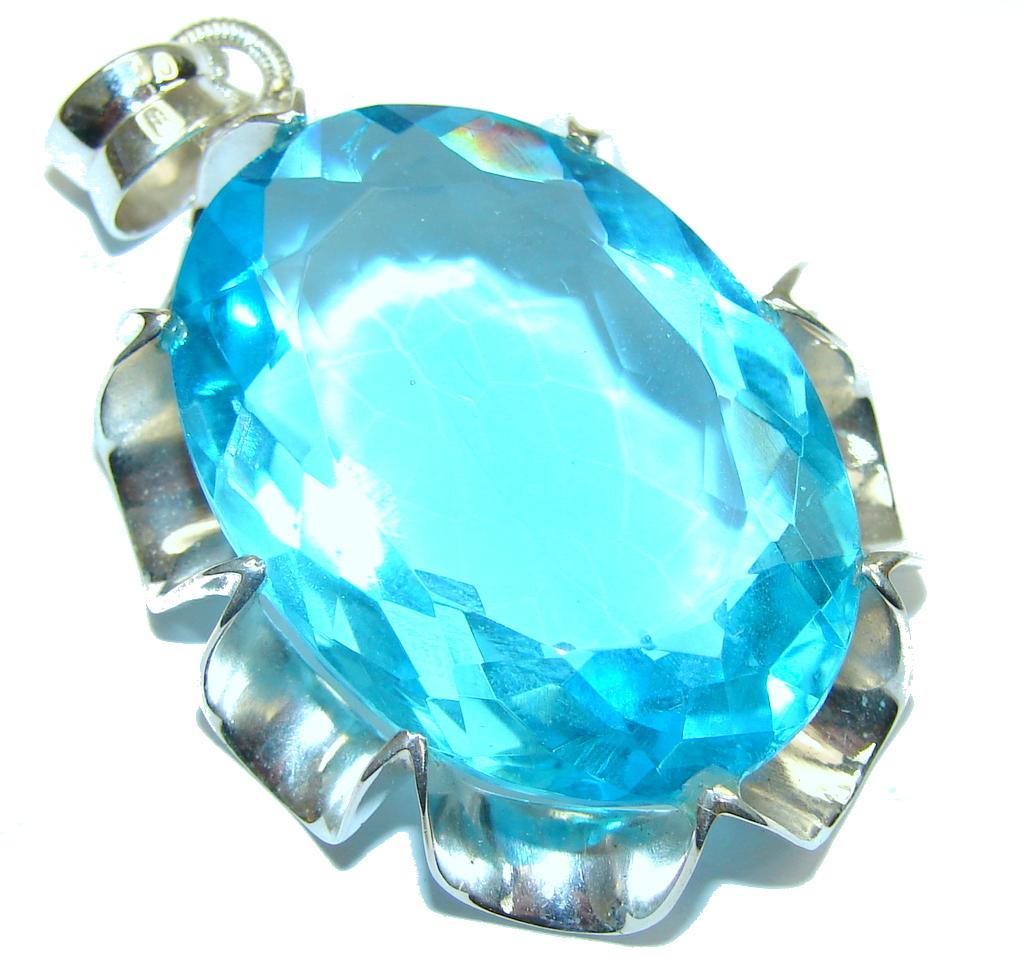 Caribbean Sea! Created Blue Topaz Sterling Silver Pendant...