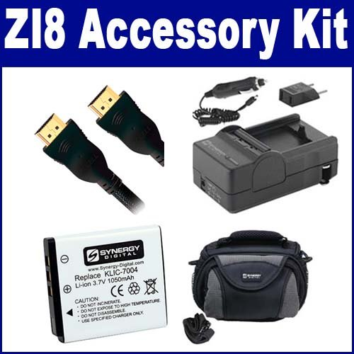 Kodak Zi8 Camcorder Accessory Kit includes: SDKLIC7004 Battery, PT27 Charger, SDC-26 Case, HDMI3FM AV & HDMI Cable