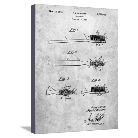 First Toothbrush Patent Stretched Canvas Print Wall Art By Cole Borders (Cole Brush)