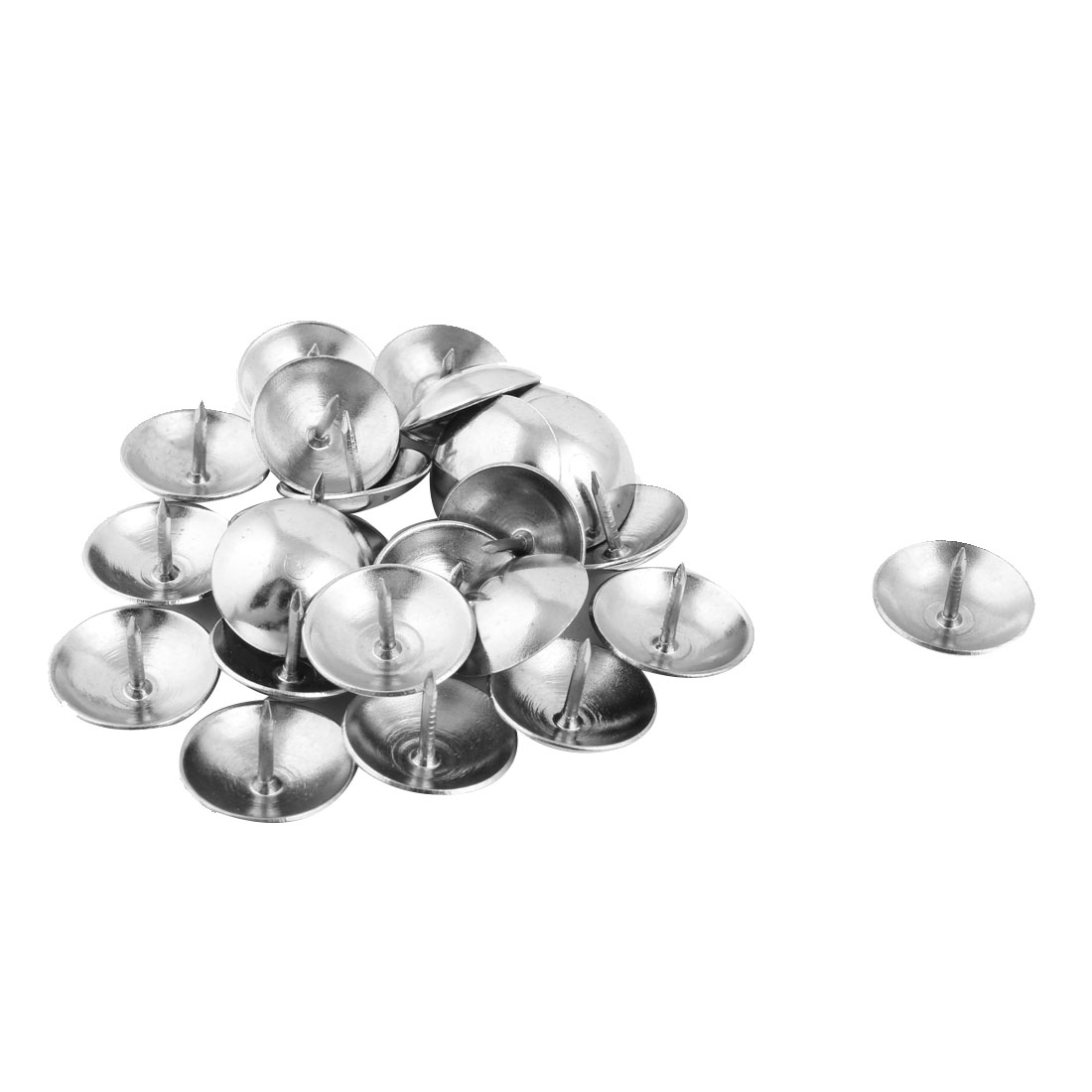 Furniture Metal Round Shaped Upholstery Tack Nail Silver Tone 18 x 12mm 25pcs