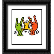 Untitled 1985 2x Matted 20x24 Black Ornate Framed Art Print by Keith Haring