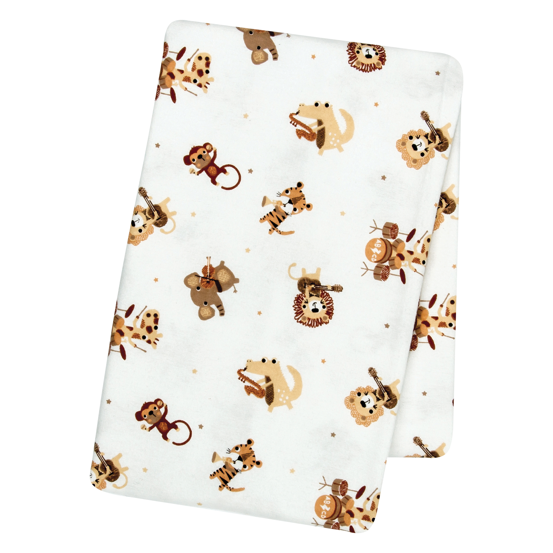 Safari Rock Band Deluxe Flannel Swaddle Blanket