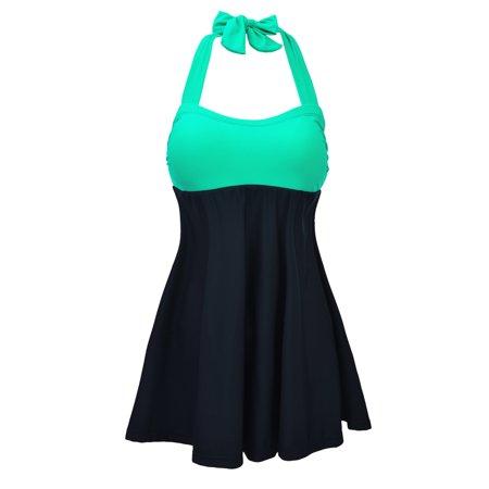 FeelinGilr Womens Sporty Boyleg Swimdress Plus Size Vintage Halter One Piece Swimsuit Long Torso Skirted Bathing