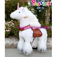 Beyond Shop - New Ponycycle Pony Cycle Ride On Horse No Need Battery No Electric Just Walking Horse WHITE UNICORN - Size SMALL for Children 2 to 5 Years Old