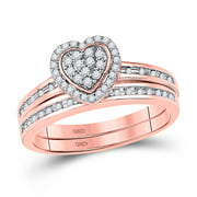 10k Rose Gold Womens Round Diamond Heart Bridal Wedding Engagement Ring Band Set 1/4 Cttw