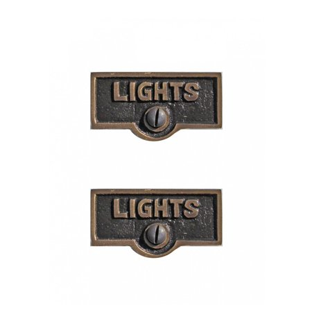 Switch Plate Tags Lights Name Signs Labels Antique Brass Pack Of 2