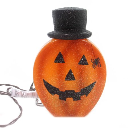 Stony Creek LIGHTED PUMPKIN WITH HAT Glass Spider Jack O Lantern Hol8246 B ()