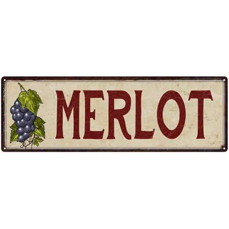 Merlot Grapes Wine Kitchen Vintage Look 6x18 Metal Sign Wall Décor  206180016019