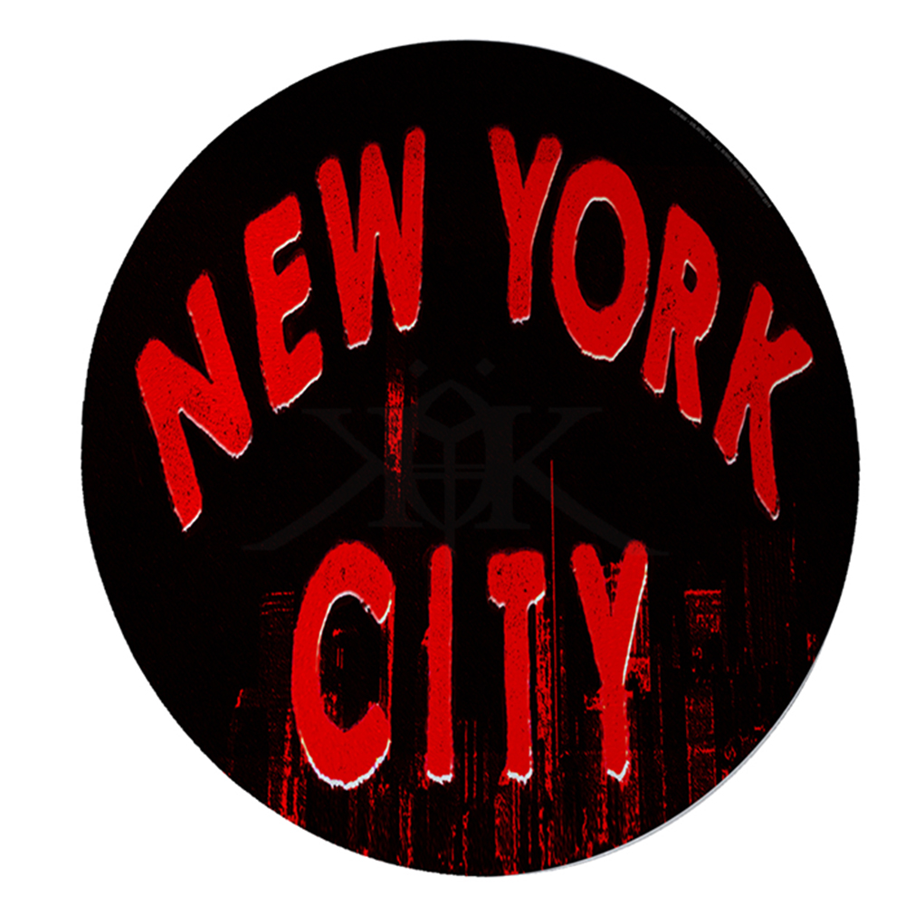 "KuzmarK 12"" Round Glass Cutting Board - New York City Skyline Red"
