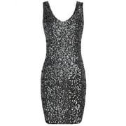 PrettyGuide Women Sexy Deep V Neck Sequin Glitter Bodycon Stretchy Mini Party Dress Black S