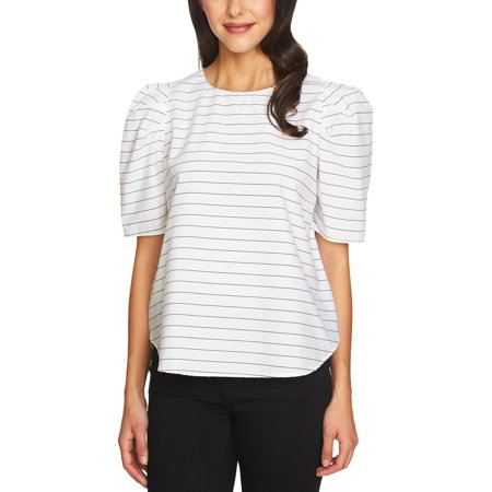 1.State Womens Pinstripe Puff Sleeves Blouse