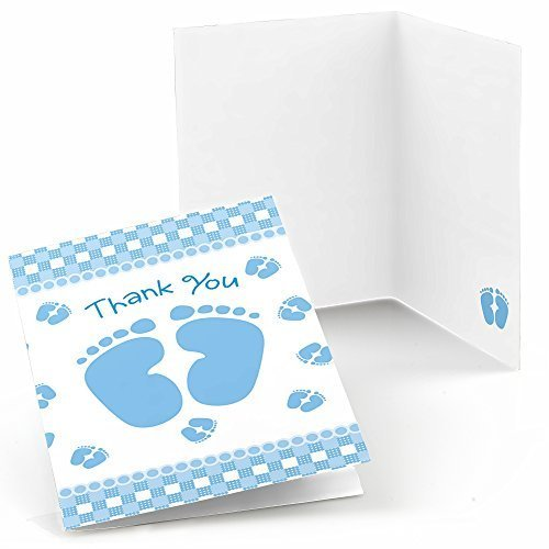 Baby Feet Blue - Baby Shower Thank You Cards (8 count)