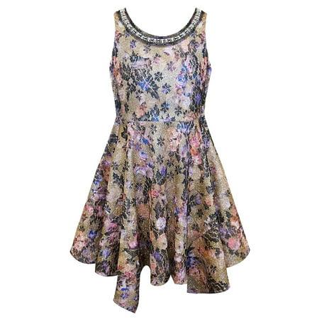 Tween Party Dress (Big Girls Tween 7-16 Gold/Multi Embellished Neckline Hanky Hem Social Party Dress, 7)