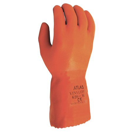 SHOWA Size 11 Orange Atlas 12'' Cotton Knit Lined Cotton And PVC Fully Coated Chemical Resistant Gloves With Rough And Textured Finish And Gauntlet - Fully Coated Gauntlet