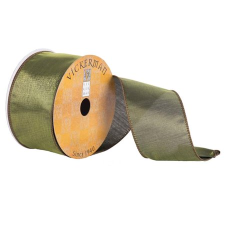 2.5 in. x 10 Yard Moss Shiny Satin Wired Edged Ribbon - image 1 de 1