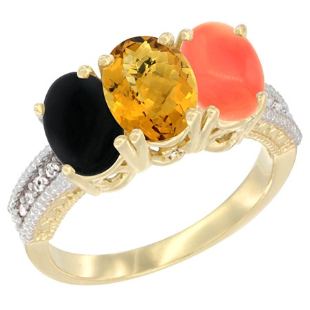 14K Yellow Gold Natural Black Onyx, Whisky Quartz & Coral Ring 3-Stone 7x5 mm Oval Diamond Accent, sizes 5 - 10
