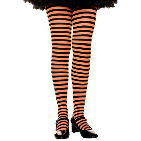 Music Legs 270-BLK-ORANGE-XL Girls Striped Tights, Black & Orange - Extra Large (Black And Red Striped Tights)