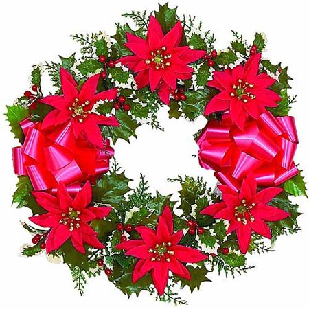 16 poinsettia artificial christmas wreath 6pk for 5ft poinsettia garland christmas decoration