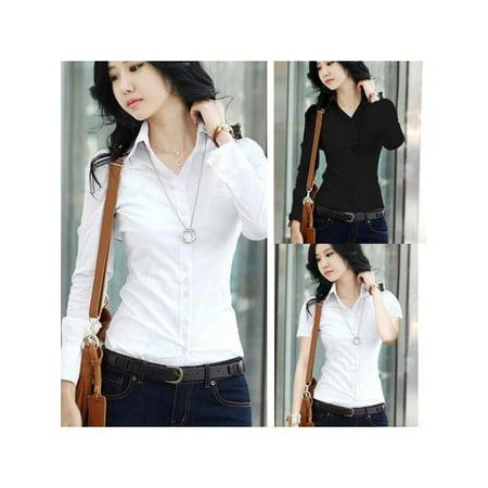 Topumt Women Short/Long Sleeve Classic Collar TShirt Button Down Blouse Top OL Shirt