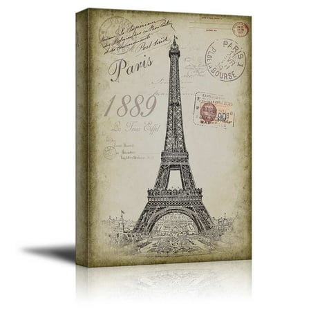 wall26 - Sketching of The Eifel Tower with a Paris Themed Vintage Background - Canvas Art Home Decor - 12x18 - Quinceanera Themes Paris