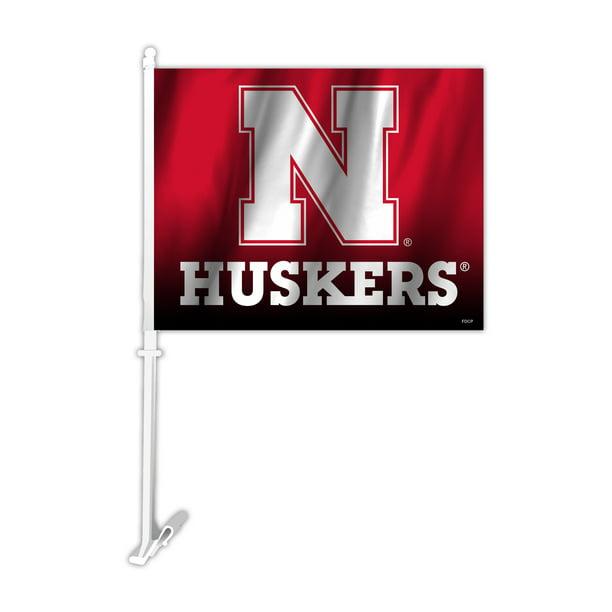 NCAA Nebraska Cornhuskers Car Flag with Wall Bracket