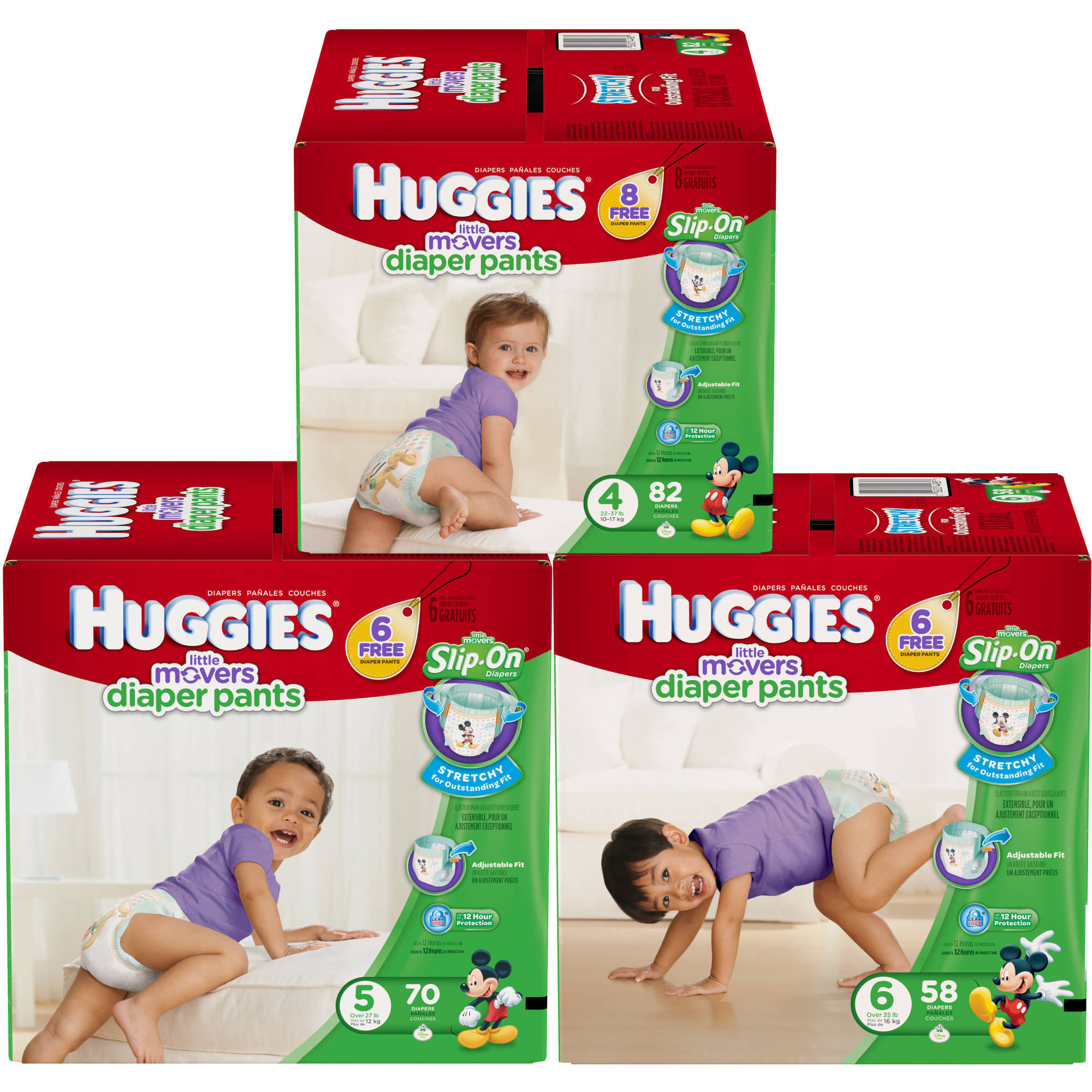 HUGGIES Little Movers Diaper Pants, Size 4, 82 count