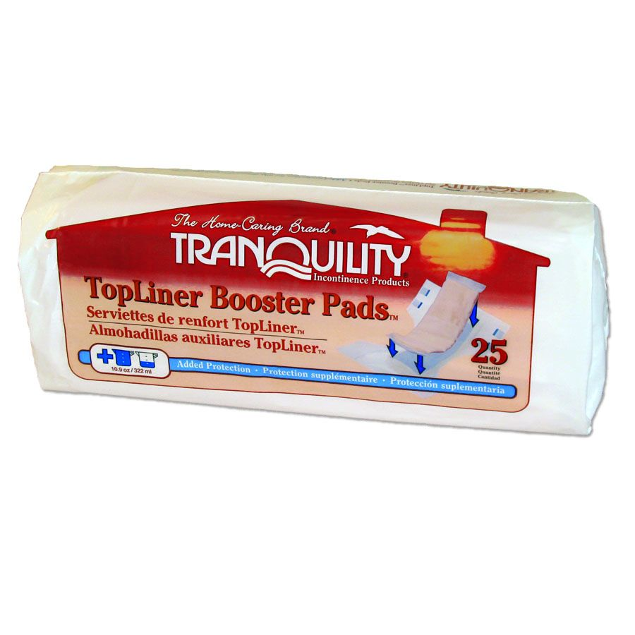Incontinence Booster Pad TopLiner Heavy Absorbency Polymer Unisex Disposable 14 Inch Length 10 Packs of 25