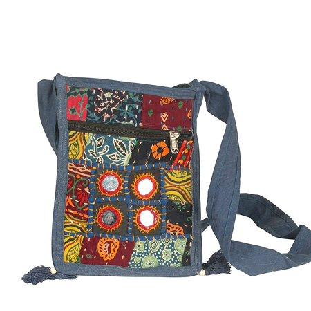 Organizer Messenger (Small Messenger Crossbody Satchel Shoulder Bag Floral Purse Colorful Organizer Cellphone Ipad Hobo Mirror Patchwork )