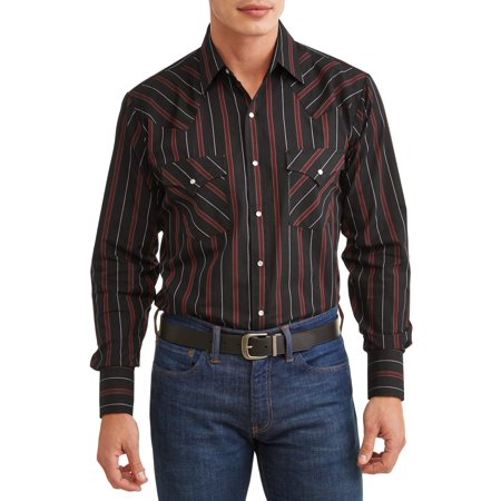 Long Seersucker Snap (Plains Men's Long Sleeve Stripe Western Shirt, up to Size 4XL )