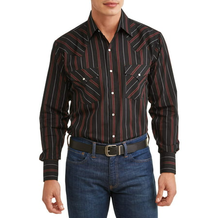 - Plains Men's Long Sleeve Stripe Western Shirt, up to Size 4XL