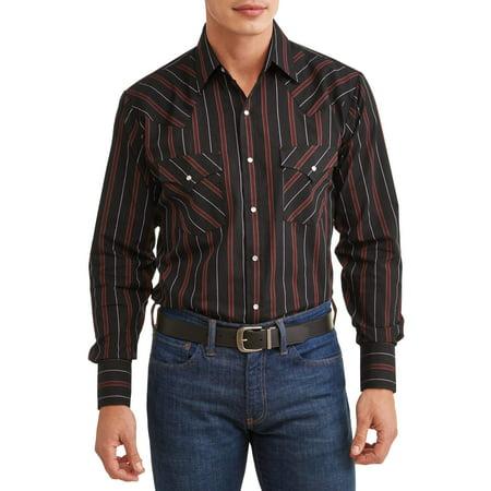 Plains Men's Long Sleeve Stripe Western Shirt, up to Size -