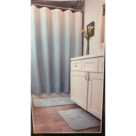 Mon Chateau 5 Piece Bath Set 2 Bath Rugs 1 Shower Curtain 1 Shower Liner 1 Set Of 12 Metal Hooks (LIGHT (Chateau Ogee Liner)