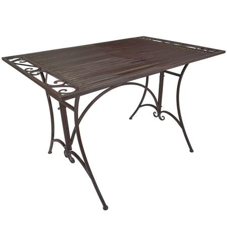 Titan Outdoor Antique Dining Table Porch Patio Garden Deck Rustic ()