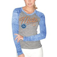 New York Mets G-III Sports by Carl Banks Women's Ring Spun Long Sleeve T-Shirt with Back Key Hole - Gray/Royal