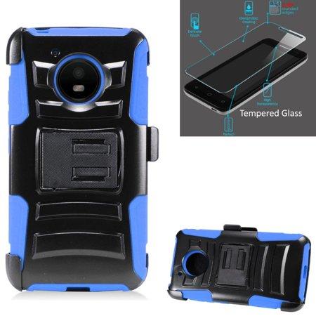 For Motorola Moto E4 Case / Moto E 4 XT1767 Case + Tempered Glass Advanced Armor Hybrid Soft Silicone Cover Stand w/ Holster (Black/Blue)