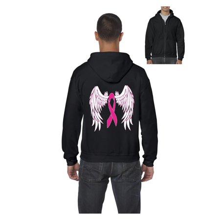 Pink Ribbon with Wings Breast Cancer Awareness Men's Full-Zip Hooded Sweatshirt Angel Wings Hooded Sweatshirt