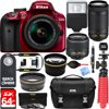 Nikon D3400 24.2 MP DSLR Camera + AF-P DX 18-55mm VR & AF-P DX 70-300mm ED Lens + Bundle 64GB SDXC Memory + Photo Bag + Wide Angle Lens + 2x Telephoto Lens + Flash + Remote +Tripod+Filters (Red)